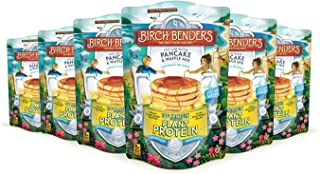 Birch Benders Plant Protein Pancake & Waffle Mix, Vegan, 10g Plant-Based Protein, Whole Grains, Family Size, 6 Pack, 14 Oz