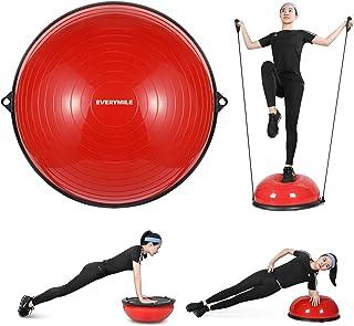 バランスボール 半円型 チューブ付き ヨガボール 半球 直径58㎝ EVERYMILE エクササイズボール 体幹トレーリング バランスボード 空気入れ付属 ダイエット 運動 ヨガ 腹筋 背筋
