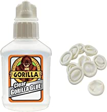 Gorilla 4500104 Clear Glue 1.75 Oz, Clear with 10 Disposable Latex Finger Cots Rubber Fingertips