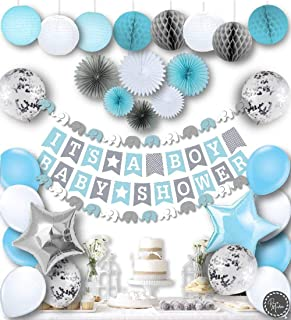 RainMeadow Premium Baby Shower Decorations for Boys Kit | It's A BOY | Garland..