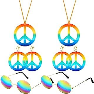 2 Stücke Regenbogen Farbe Hippie Frieden Zeichen Halskette 2 Paar Frieden Ohrringe und 2 Stücke Hippie Runde Brille für Hippie Ankleiden Zubehör Set Party Gefälligkeiten