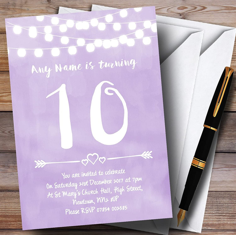 Purple purplec Lights 10th Personalised Birthday Party Invitations