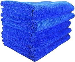 SOFTSPUN Microfiber Cloth - 5 pcs - 40x60 cms - 340 GSM Blue - Thick Lint & Streak-Free Multipurpose Cloths - Automotive Microfibre Towels for Car Bike Cleaning Polishing Washing & Detailing