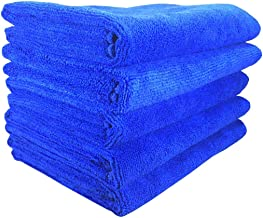 SOFTSPUN Microfiber Cloth - 5 pcs - 40x60 cms - 340 GSM Blue - Thick Lint & Streak-Free Multipurpose Cloths - Automotive Microfibre Towels for Car Bike Cleaning Polishing Washing & Detailing