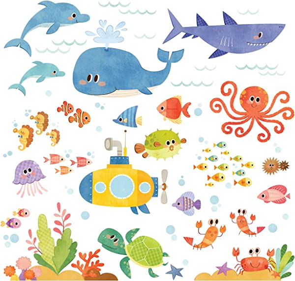 Decowall DS 8009 Sea Adventure Kids Wall Stickers Wall Decals Peel And Stick Removable Wall Stickers For Kids Nursery Bedroom Living Room Small