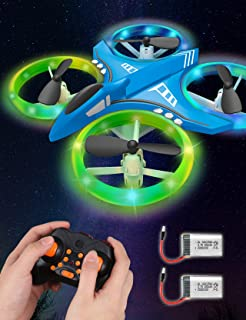 Dwi Dowellin Mini Drone Crash Proof RC Quadcopter with LED Night Lights One Key Take Off Flips Rolls Nano Drones Toys for Kids Children Beginners Boys and Girls, 2pcs Batteries
