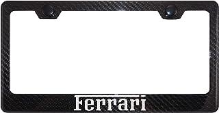 Fit Ferrari 4K Gloss Black Carbon Fiber License Plate Frame with Black Caps