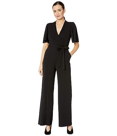 Donna Morgan Short Flutter Sleeve Wrap Front Crepe Jumpsuit (Black) Women