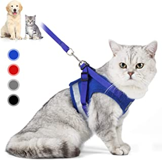 Cat Harness with Leash Set, Adjustable Soft Mesh Reflective Pet Harnesses, Extended Version of The Reflective Strip Harness,Suitable for Kittens, Puppies, Small Pets