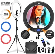 Ring Light with Wireless Remote Controller, Pixel 19 inch Pro Vlogging Light with LCD Display Bi-Color 60W 3000K-5800K CRI=97 & TLCI =99 with 3 Color Filters for YouTube, Twitch and Facebook Live