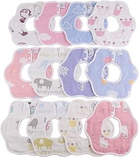 winkong ベビー ビブ 12枚入り 綿100% 6重ガーゼ 花びら型 360度回転 食事用 ベビー用品 スタイ 柔らかい 出産のお祝い ギフト