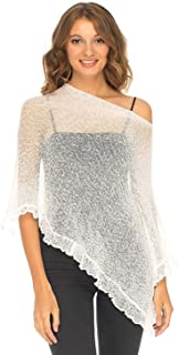 Womens Sheer Poncho Shrug Lightweight Knit with Ruffle One Size Fits Most