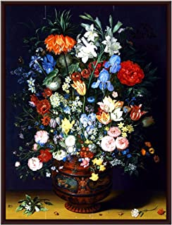 The Artist Flower Pot Beautiful Floral VaseHD Print Wall Art Framed Painting Without Glass for Living Room, Bedroom, Offic...