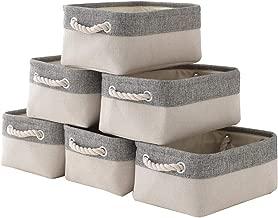 Storage Basket with Cotton Rope Handle, Collapsible Storage Bins Set Works As Baby Storage, Toy Storage, Nursery Baskets 6Pack (Grey&White)