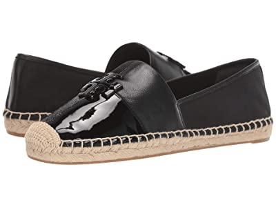 Tory Burch Logo Patchwork Flat Espadrille (Perfect Black Multi) Women