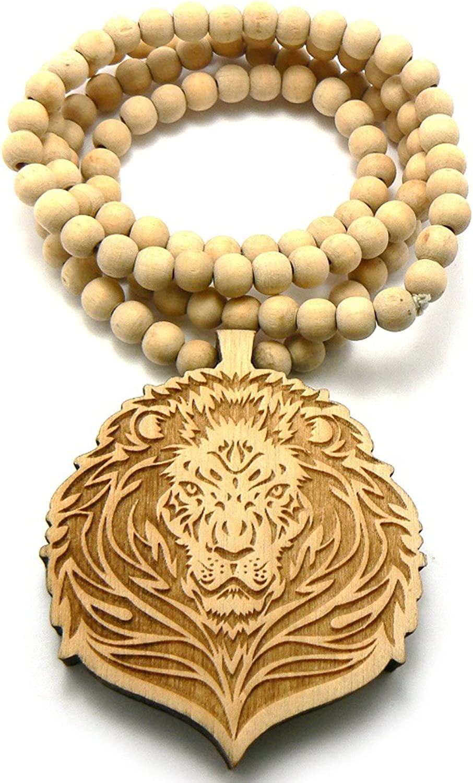 NYFASHION101 Lion Head Wood Pendant 36