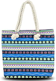 Beach Tote Bag, Hand Bag, ANGUO Large Size Blue Stripe Canvas Shopping Bag Large Size with Cotton Rope Handle(Ethnic blue flower)