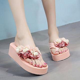 女性のスリッパ夏の花ノンスリップ厚い砂のビーチの靴屋外のサンダルの傾向 - 高5cm ( 色 : ピンク ぴんく , サイズ さいず : US:5.5\UK:4.5\EUR:36 )