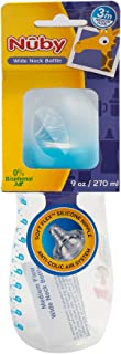 Nuby Soft-Flex Silicone Medium Flow Nipple Bottle Wide Neck 270 ml 3m+ Blue - 1011198