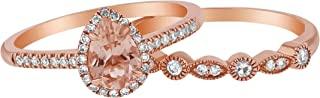 14k Rose Gold Pear Morganite and Diamond Halo Vintage Ring Band Set (1/4 cttw, H-I, I1)