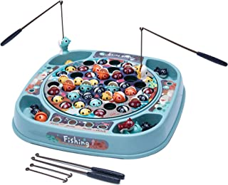 piberagi Fishing Game Toy Pole and Rod Fish Board Game Rotating with Music Includes 45 Fish and 4 Fishing Poles Fine Motor...