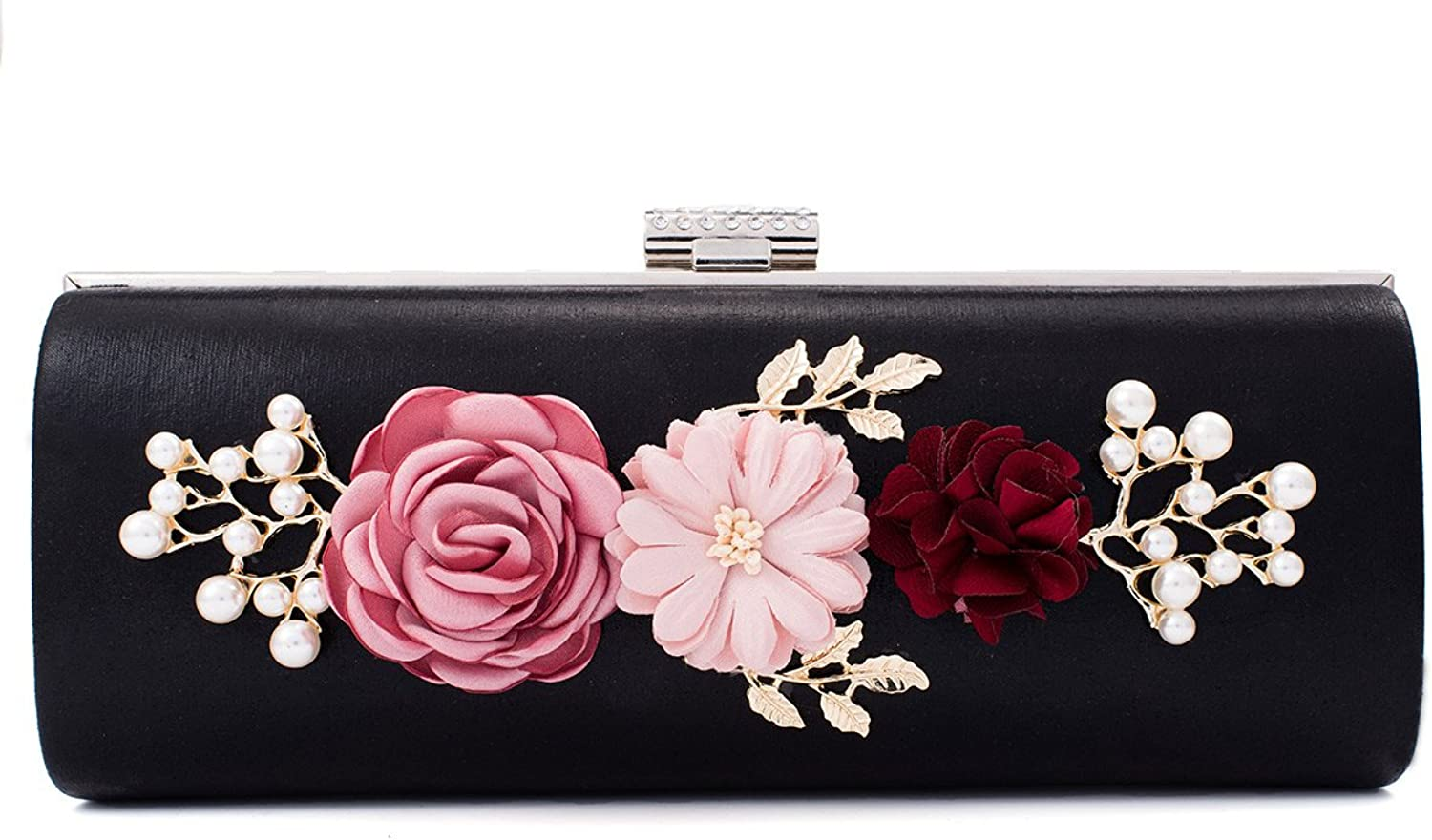 Darama Womens Solid Flowers Beads Delicate Evening Clutch Bag