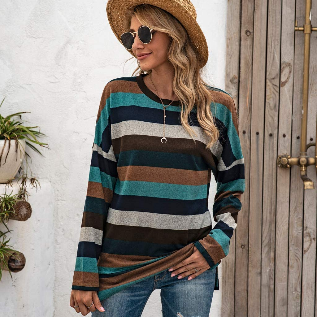 Forthery Women Casual Long Sleeve Striped T Shirt Round Neck Cotton Causal Tops