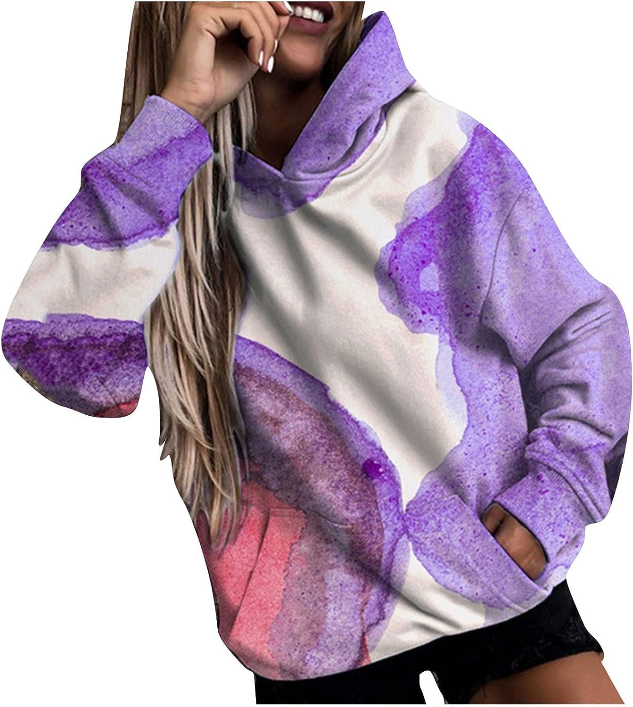 Xinantime Women's Floral Print Sweatshirt Hoodies Long-Sleeved Blouse Ladies Pullover Oversized Tops with Pocket