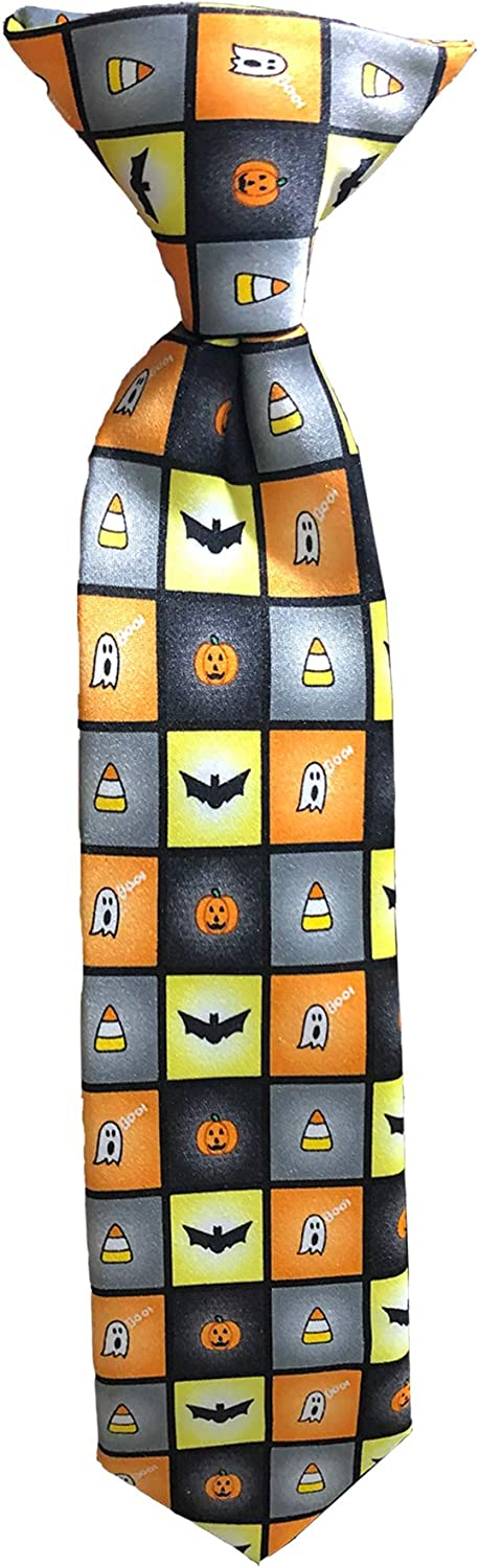 Boys' Infant Toddler Baby Spooky Halloween Squares Jack-O'-Lantern Ghost Candy Corn Bats 8 inch Clip-On Neck Tie