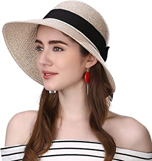 b324a47574d28 Siggi Womens Floppy Summer Sun Beach Straw Hat UPF50 Foldable Wide Brim  55-60cm