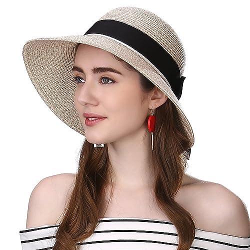 aa53729cad2 Siggi Womens Floppy Summer Sun Beach Straw Hat UPF50 Foldable Wide Brim  55-60cm