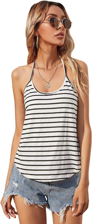 Romwe Women's Casual Striped Sleeveless T-Back Curved Hem Halter Cami Tank Tops Shirts
