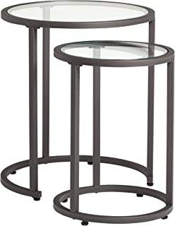 glass top nesting end tables