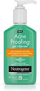Neutrogena Acne Proofing Daily Facial Gel Cleanser with Salicylic Acid Acne Medicine, Oil-Free Acne-Fighting Face Wash, 6 oz
