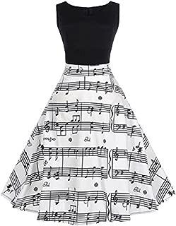 Tosonse Vintage 1950S Robes De Cocktail pour Les Femmes sans Manches Note De Musique Motif Robe Trap/èze