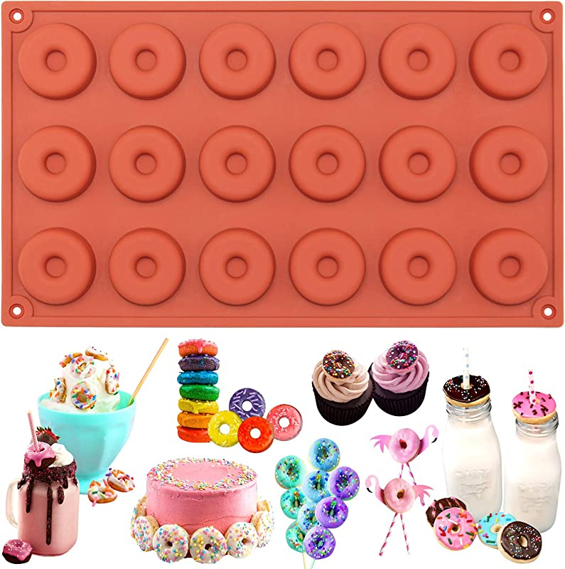 Funshowcase Mini Donut Silicone Mold 18 Cavity 30x17x1cm