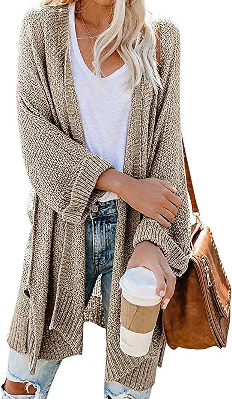 HZSONNE Women's Boho Open Front Kimono Bell Sleeve Casual Long Cardigan Sweater Batwing 3/4 Sleeve Knit Blouse Plus Size