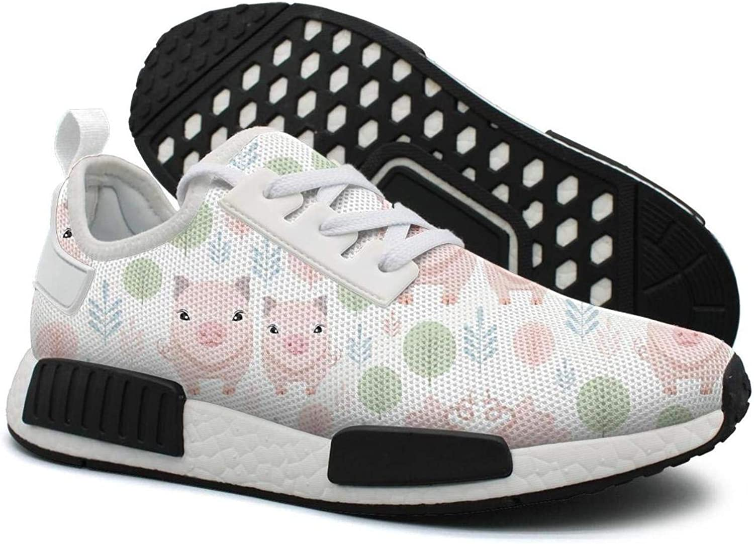 Cute Pink Pig Mom with Babe Pig Women's Unique Lightweight Volleyball Sneakers Gym Outdoor Sports shoes