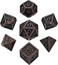 Hestya 7 Pieces Metal Dices Set DND Game Polyhedral Solid Metal D&D Dice Set with Storage Bag and Zinc Alloy with Enamel for Role Playing Game Dungeons and Dragons, Math Teaching (New Red Copper 2)
