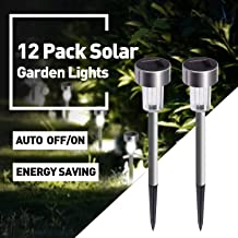 Solar Lights Outdoor, 12Pack Outdoor Lights - Waterproof, Stainless Steel Outdoor Solar Lights, Solar Garden Lights LED Solar Powered Landscape Lighting for Patio Pathway Walkway Driveway Lawn & Yard