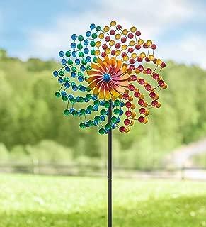 Plow & Hearth Rainbow Cups Metal Wind Spinner - 24 Dia x 10.25 D x 75 H