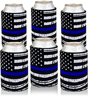 Can Cooler Sleeves USA Thin Blue Line Flag Can Coozies Drink Beer Can Insulator Covers Collapsible Can Wraps 6Pc