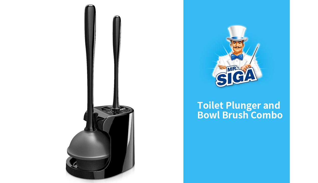 1 Set Black MR.SIGA Toilet Plunger and Bowl Brush Combo for Bathroom Cleaning