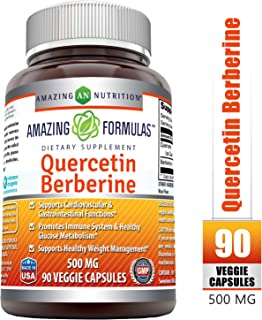 Amazing Formulas Quercetin Berberine - 250 mg of Berberine and 250 mg Quercetin in Each Veggie Capsule. (Non-GMO) Potent Anti-oxidant Properties. Supports Heart Health, Energy Production* (90 Count)