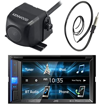 """JVC  6.2"""" Touch Screen Car CD DVD USB Bluetooth Stereo Receiver Bundle Combo With Kenwood Rearview Wide Angle View Backup Camera, Enrock 22"""" AM/FM Radio Antenna"""