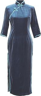 7Fairy Women's Quality Velvet Navy Blue Long Chinese Evening Dress