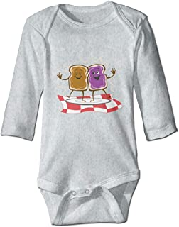Peanut Butter and Jelly Logo Toddler Baby Long Sleeve Romper Jumpsuit Organic Cotton Onesies