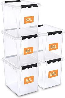 SmartStore Lot de 5 boîtes de rangement 52 l renforcées en plastique, transparentes et pouvant servir pour ranger les alim...