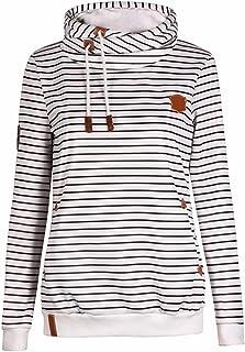 Sexyshine Women's Long Sleeve Stripe Color Block Hoodies Funnel Neck Pullover Hooded Sweatshirts