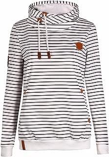 Women's Long Sleeve Stripe Color Block Hoodies Funnel Neck Pullover Hooded Sweatshirts